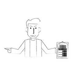 blurred silhouette half body caricature doctor vector image