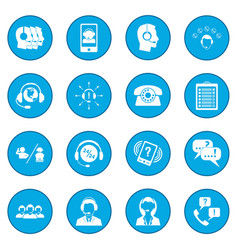 Call center service icon blue vector