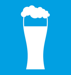 Glass of beer icon white vector