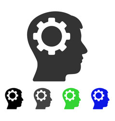Intellect gear flat icon vector