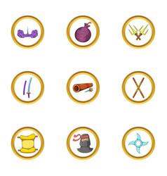 Ninja assassin icon set cartoon style vector