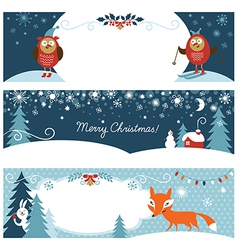 Set of christmas graphic banners vector