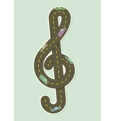 Paper road in the shape of treble clef vector
