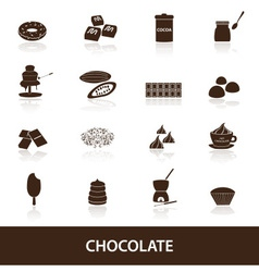 chocolate icons set eps10 vector image