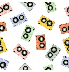Audio tapes background vector