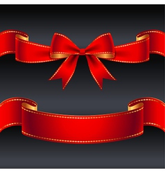 Ribbon red border vector