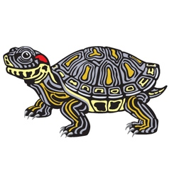 Red eared slider turtle vector