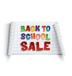 Back to school sale paper banner vector