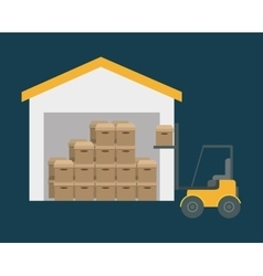 Box forklift delivery shipping icon vector