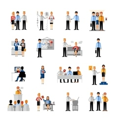 Business people workplace set vector