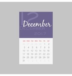 Calendar 2017 months december week starts sunday vector