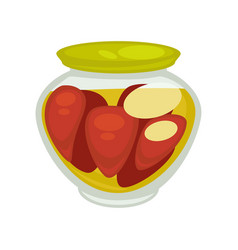 canned mushrooms or red pepper in small jar vector image vector image