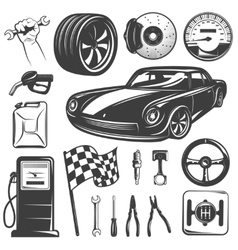 Car repair garage icon set vector
