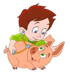 cartoon veterinarian and pig vector image vector image