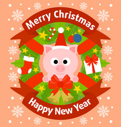 christmas and new year background card with pig vector image vector image