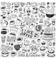 coffee cups doodles set vector image vector image