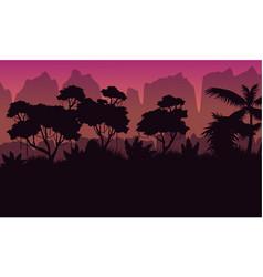 collection rain jungle scenery silhouette style vector image