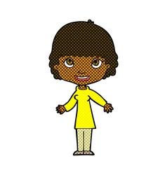 comic cartoon happy woman vector image vector image