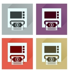 Concept of flat icons with long shadow atm cash vector