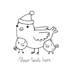 Cute cartoon Bird with chicks in the hat vector image vector image