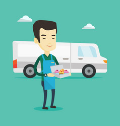 Delivery man holding a box of cakes vector