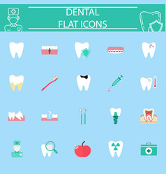 dental flat icon set vector image