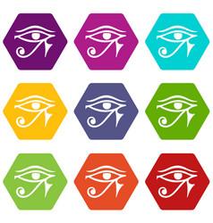 Eye of horus egypt deity icon set color hexahedron vector