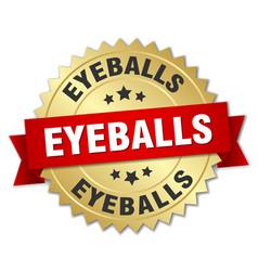 eyeballs round isolated gold badge vector image