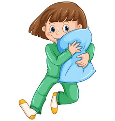 Girl hugging pillow at slumber party vector