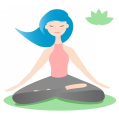 Girl sitting in lotus yoga pose vector