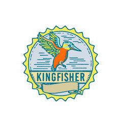 Kingfisher side rosette retro vector