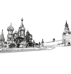 Moscow Saint Basils Cathedral drawing vector image vector image