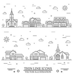 Neighborhood with homes and churches vector