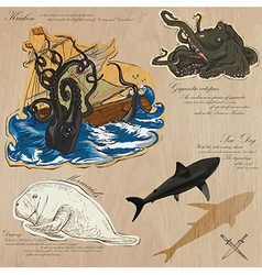 Pirates - sea monsters hand drawn and mixed media vector