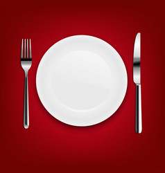 plate with fork and knife with red cloth vector image vector image