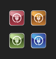 plug icon on colored square buttons vector image