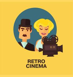 Retro cinema movie comic actor man and star woman vector