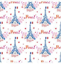 seamless pattern with eiffel tower and ornaments vector image vector image