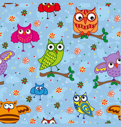 Seamless pattern with ornamental owls over light vector