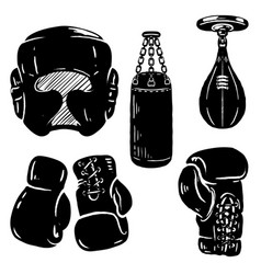 set of boxing sport design elements boxing gloves vector image