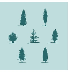set of hand drawn sketch blue trees pine fir tree vector image