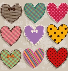 Set of isolated scrapbook heart icons vector image
