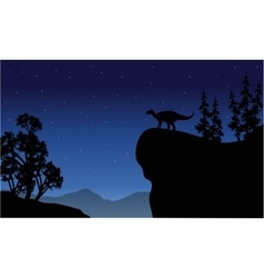 Silhouette of iguanodon in cliff vector