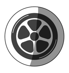 Sticker car wheel monochrome with half shaded vector