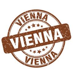 vienna brown grunge round vintage rubber stamp vector image vector image