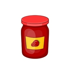 Jar of strawberry jam icon cartoon style vector