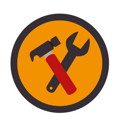 color circular emblem with hammer and wrench vector image