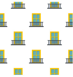 Balcony with a yellow window pattern flat vector