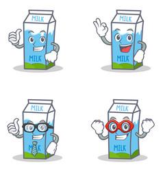 set of milk box character with okay proud vector image