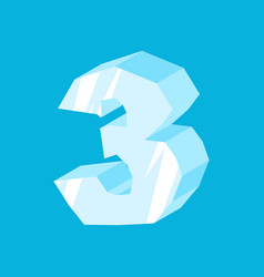 Number 3 ice icicles font three frozen alphabet vector